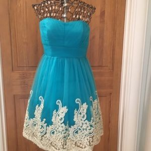 Strapless Homecoming Dress - Teal with Gold/Cream
